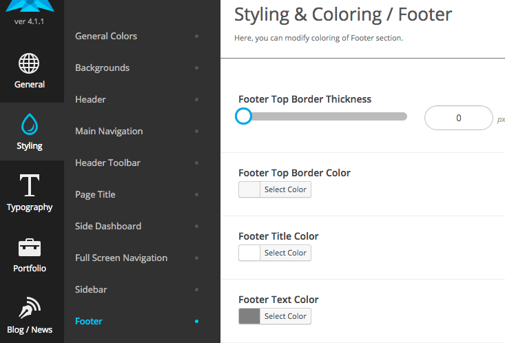 Standard Website - Footer Styling Options