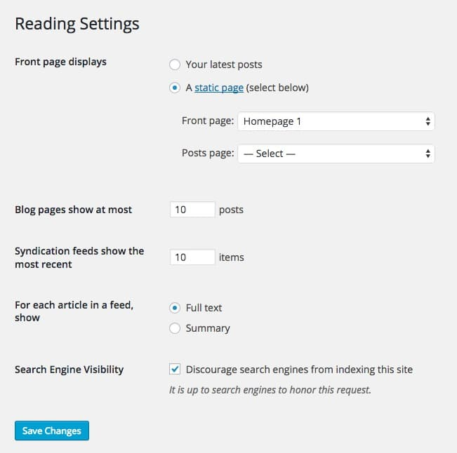 Set up Homepage Settings Reading