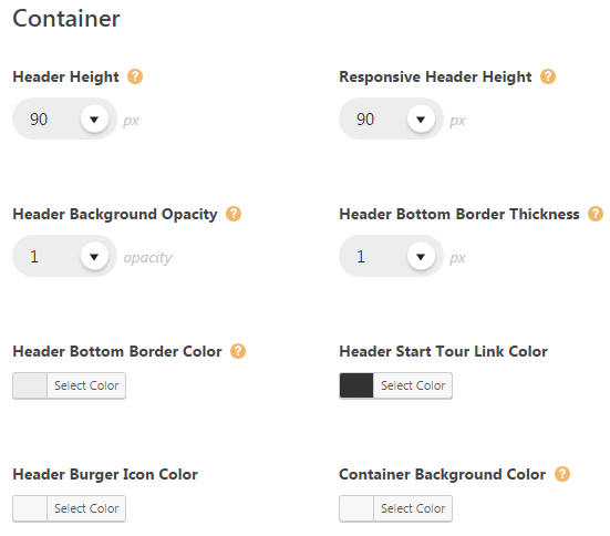 Header styling theme options - style settings