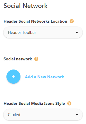 Social networks theme options - add new