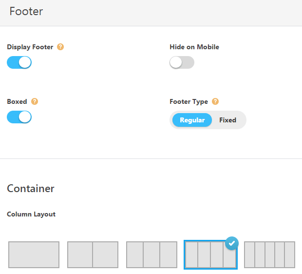 Theme options - footer options