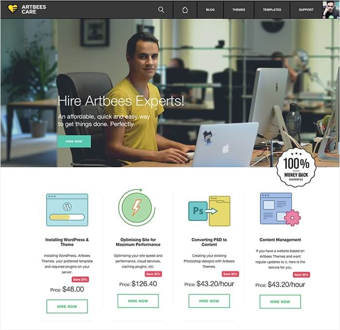 Artbees Care landing page