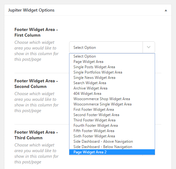 Adding a custom sidebar - jupiter widget options