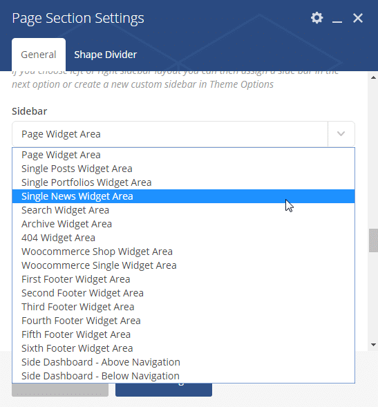 Adding a sidebar - page section sidebar option