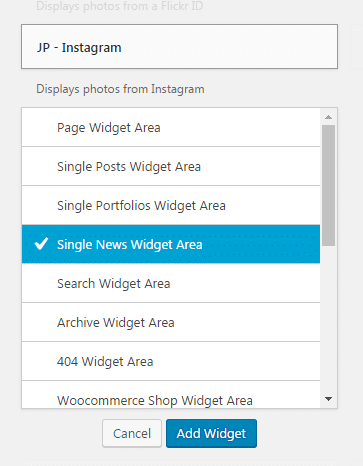 Adding widgets to a sidebar - Selecting area
