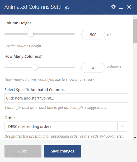 Animated Columns Shortcode - Animated Columns settings