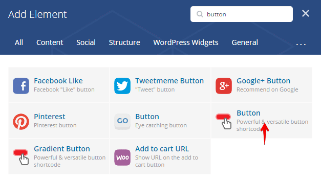 Button Shortcode - add element