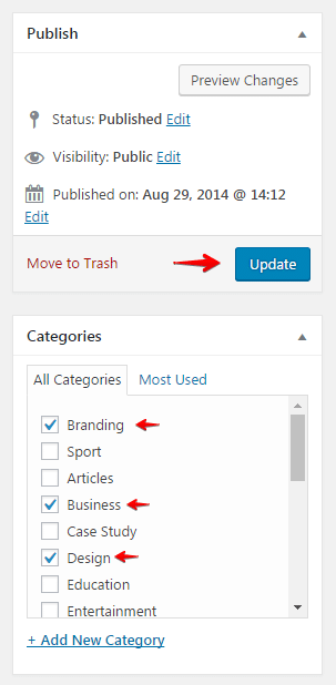 Configuring Categories and Subcategories - assign categories