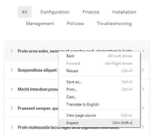 Adding custom CSS in the page settings - Inspect element
