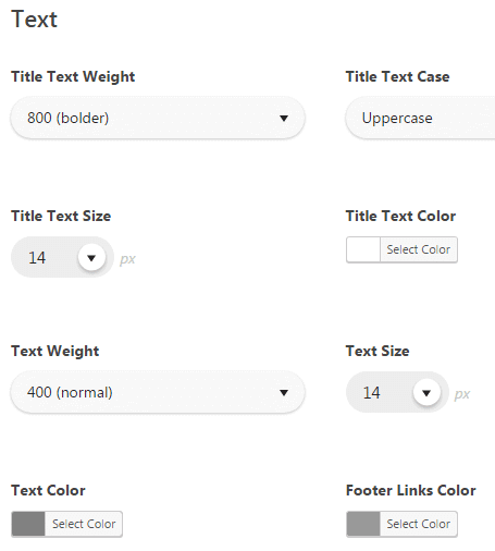 Configuring footer - Text settings