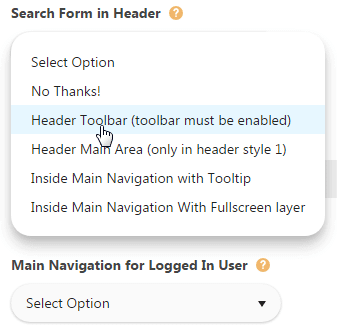 Configuring toolbar - Search form in header