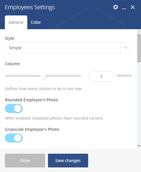 Employees shortcode - Employees settings