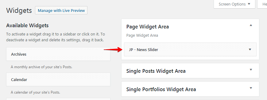 News slider widget - widget area