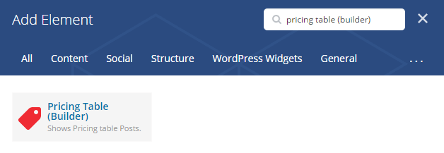 Pricing table (builder) shortcode - add element
