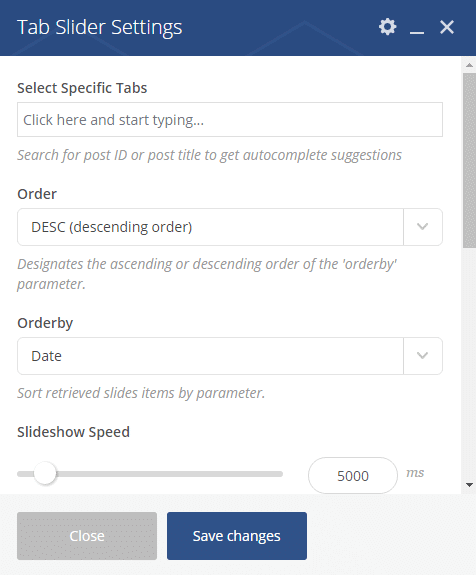 Tab Slider shortcode - Tab Slider settings