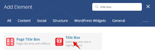 Title Box Shortcode - add element