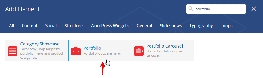 Displaying portfolio posts - Add element