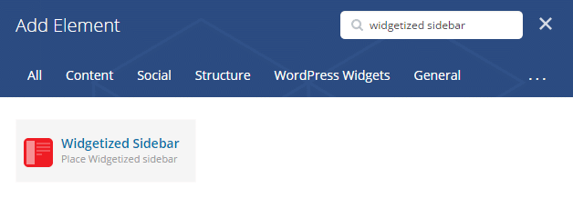 Widgetized sidebar shortcode - add element