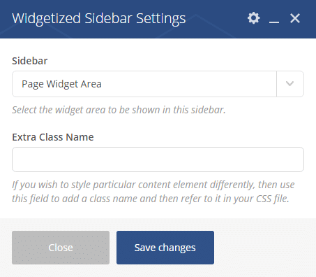 Widgetized sidebar shortcode - Widgetized sidebar settings