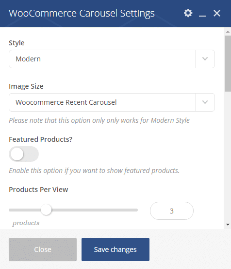 Woocommerce carousel shortcode - settings