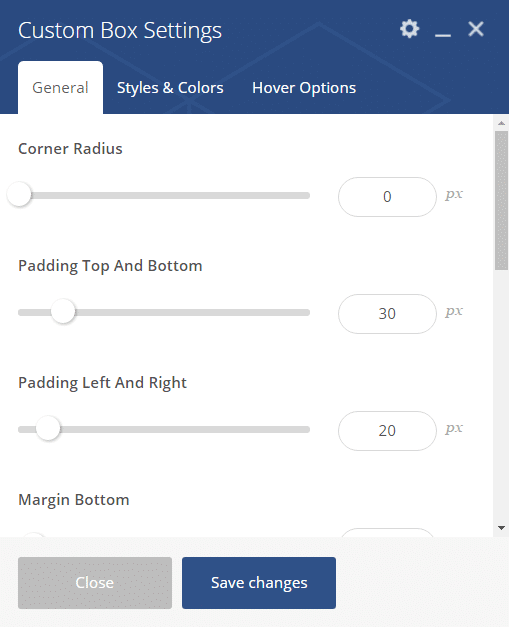 Custom box shortcode - Custom box settings