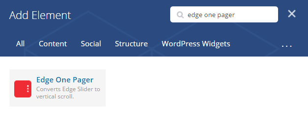 Edge one pager shortcode - add element