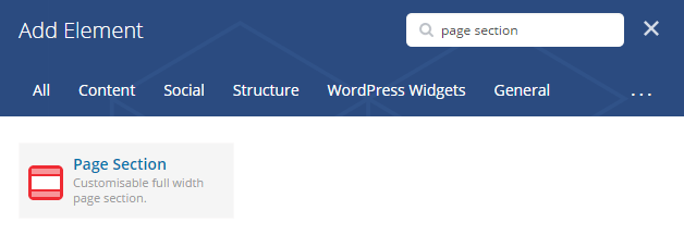 Page section shortcode - add element