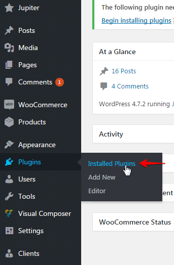 Updating plugins and add-ons - plugins menu