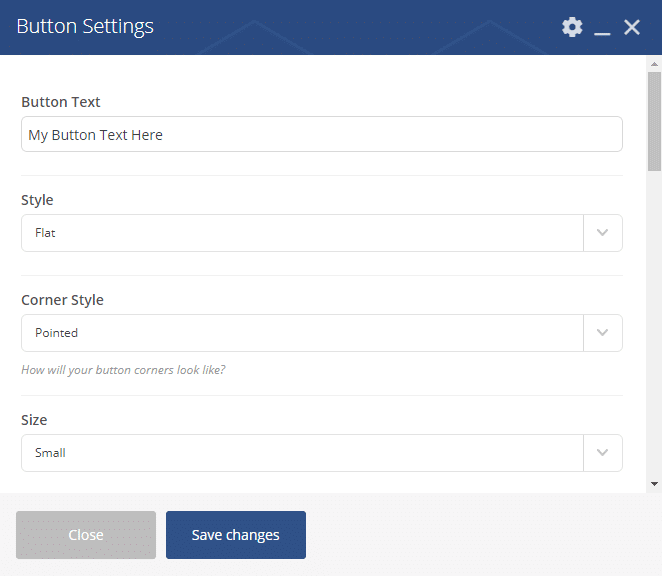Button Shortcode - Button Settings