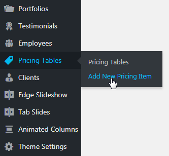 pricing table shortcode