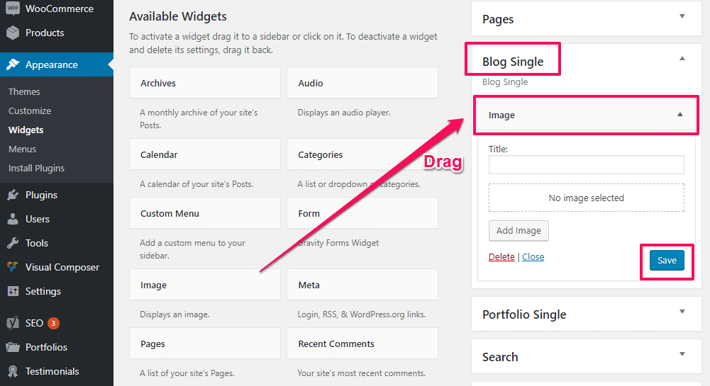 Adding widgets to a sidebar - Adding widget