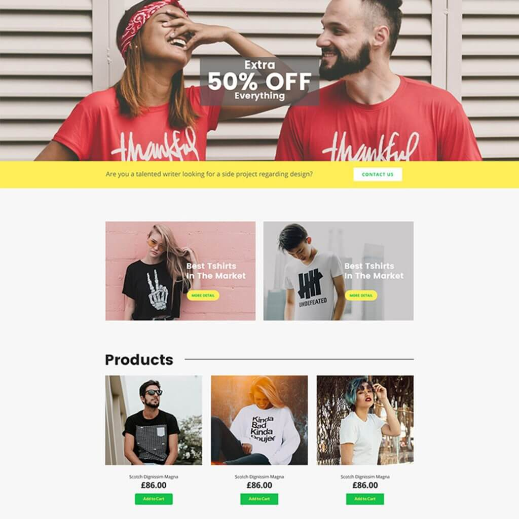 Free T-shirt Shop PSD Webpage Template Featured Image