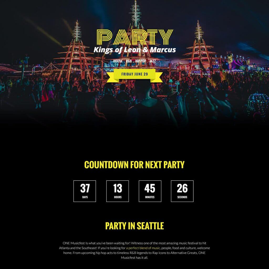 free PARTY website template Featured Image