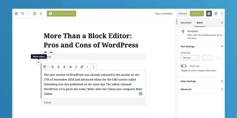 Pros and Cons of WordPress 5.0 Pro 1