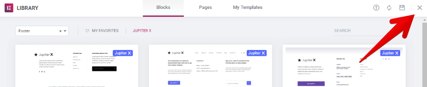 Create a custom footer closing templates modal