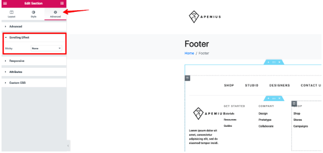 Create a custom footer section scrolling