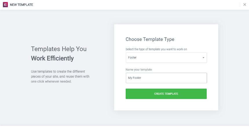 Crate a custom footer choosing a template