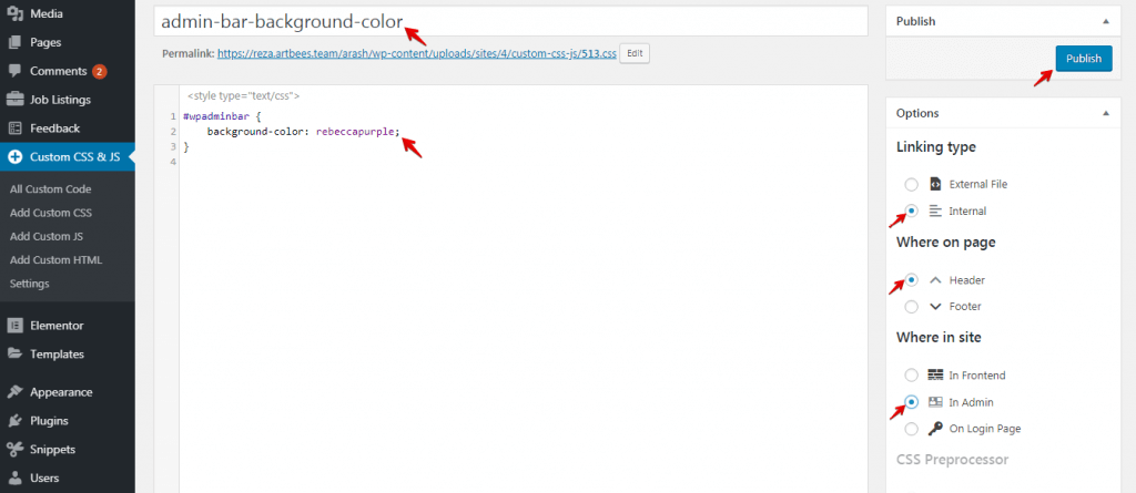 Custom Code Snippets in WordPress - Custom CSS 2