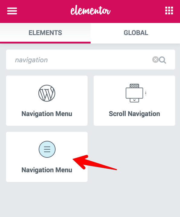 Custom Header Navigation Menu