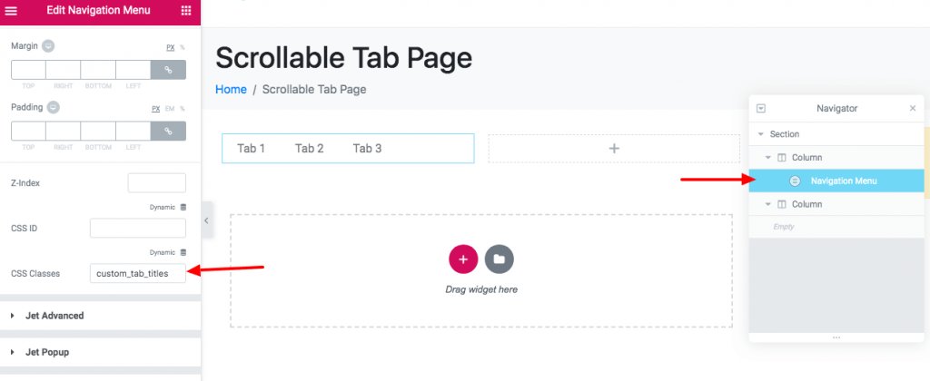 Scrollable Tab Screenshot 3 - Add a CSS class to the menu in order to avoid conflict while wiring CSS snippets.