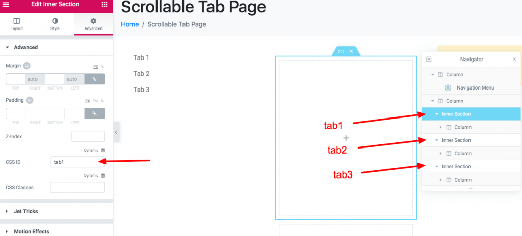 Scrollable Tab Screenshot 5 - Add a different ID to each inner section equivalent to each anchor link hashtag