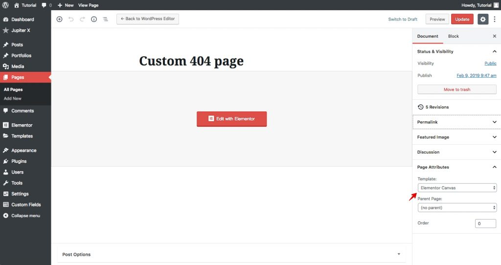 how to create custom 404 pages with Jupiter X 5