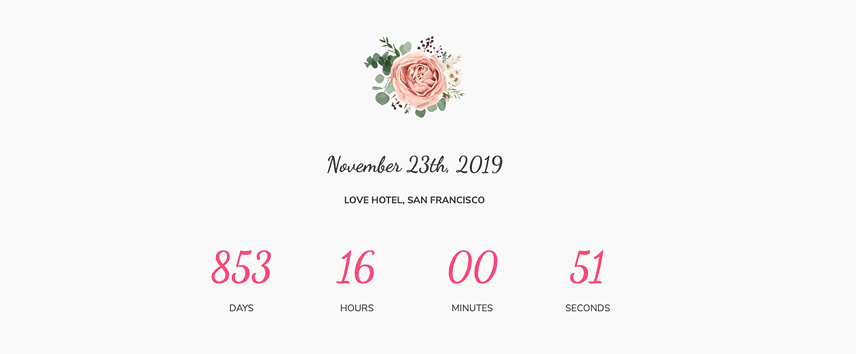 Elements for a wedding website- Countdown