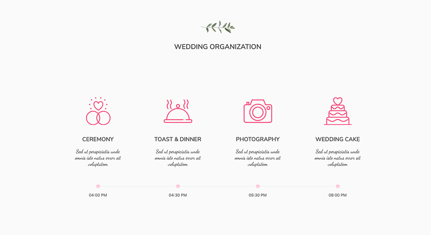 Elements for a wedding website- Horizontal timeline