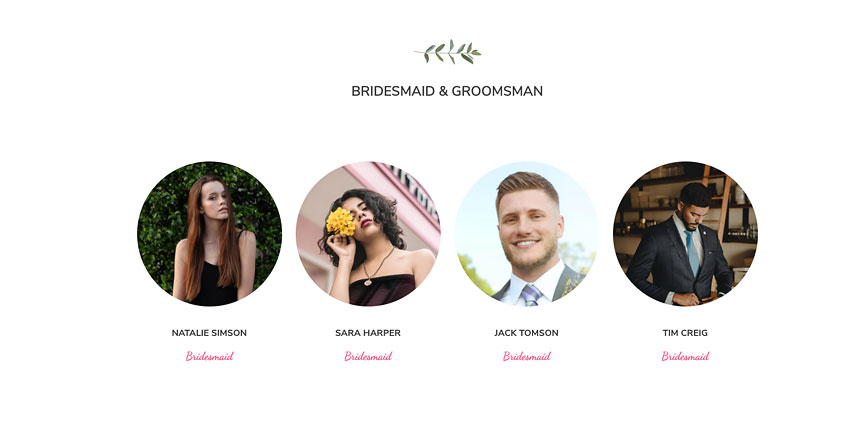 Elements for a wedding website- Team member