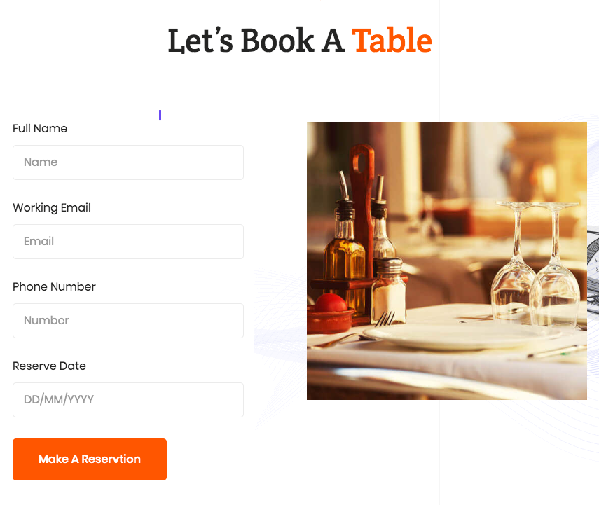 Elements for your restaurant website Form Builder