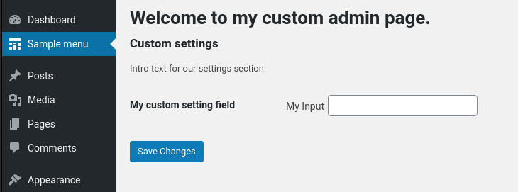 Custom Setting Page in WordPress 2