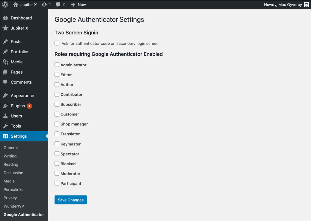 Two-Factor Authentication in WordPress First