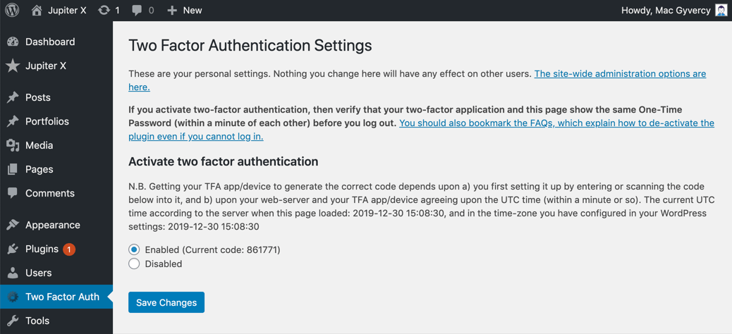 Two-Factor Authentication to WordPress Second
