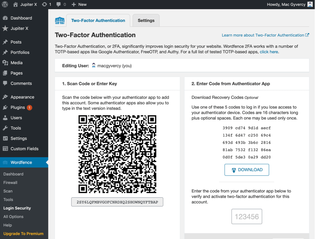 Two-Factor Authentication to WordPress Last